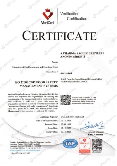 Certificate ISO22000